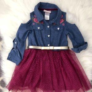 Toddler Girl Chambray Tulle Dress